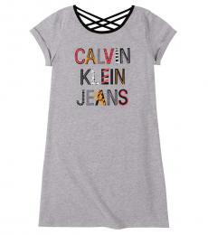 Calvin Klein Girls Grey Heather Criss-Cross T-Shirt Dress