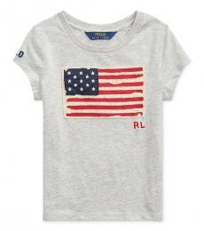 Ralph Lauren Little Girls Light Grey Heather Patriotic T-Shirt