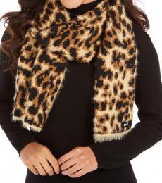 DKNY Leopard Print Fuzzy Scarf