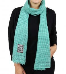 Moschino Green-White Checkered Scarf