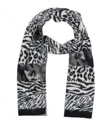 Black Brushed Patchwork Animal Print Scarf