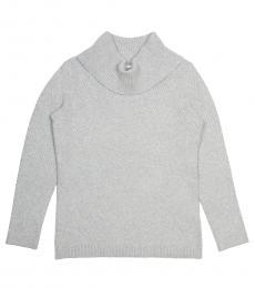 Calvin Klein Light Grey Cowl Neck Knit Sweater