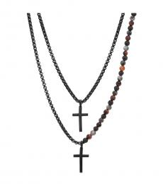 Ben Sherman Multi Double Layer Cross Necklace