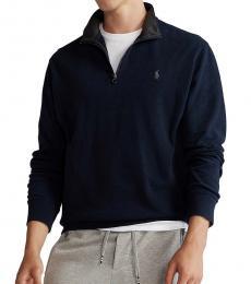 Ralph Lauren Navy Blue Jersey Quarter-Zip Pullover