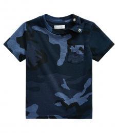 Ralph Lauren Baby Boys Blue Camo Jersey Pocket T-Shirt