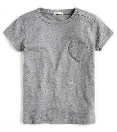 J.Crew Little Girls Pewter Heart Pocket T-Shirt