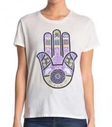 Lucky Brand White Floral Peace T-Shirt