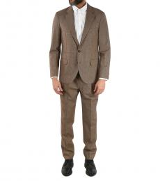 Brunello Cucinelli Brown  Wool  Cotton Two-Button Vichy Suit