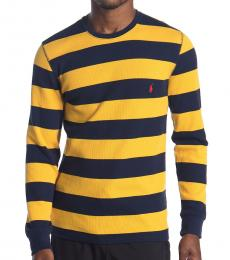 Ralph Lauren Yellow Waffle Knit Thin Stripe Sweater