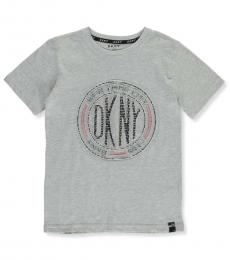 DKNY Boys Light Heather Raised Embossed Logo T-Shirt