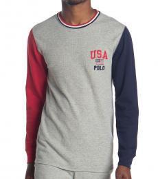 Ralph Lauren Grey Colorblock Logo Sweater