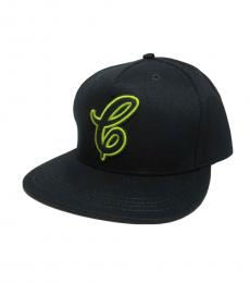 Coach Black-Neon Yellow Flat Brim Logo Cap