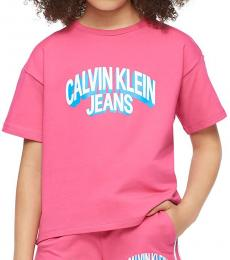 Calvin Klein Little Girls Cabaret Boxy Logo T-Shirt