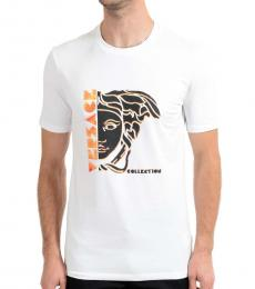 Versace Collection White Graphic Print T-Shirt