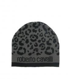 Roberto Cavalli Black-Grey Leopard Beanie