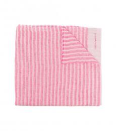 Emporio Armani Pink White Striped Scarf