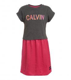 Calvin Klein Little Girls Charcoal Logo 2-fer Dress
