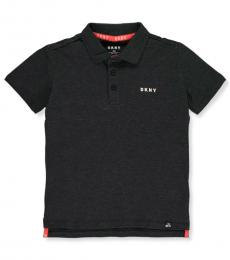 DKNY Boys Black Heather Block Pique Polo