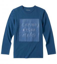 Calvin Klein Little Boys Industry Blue Overprint T-Shirt