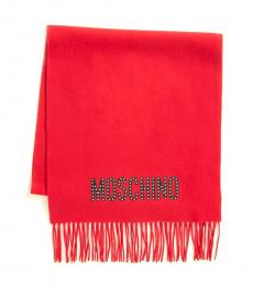 Moschino Red Studded Scarf
