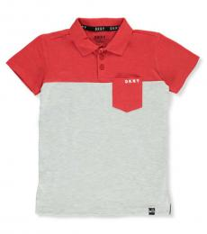 DKNY Boys Cherry Heather Color Block Pique Polo