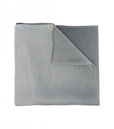 Emporio Armani White Grey-Black Metallic Scarf