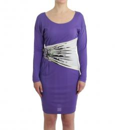 Cavalli Class Purple Solid Long Sleeves Dress