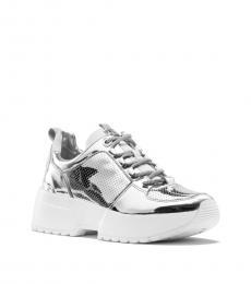 Michael Kors Silver Cosmo Mirror-Metallic Sneakers