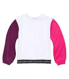 Calvin Klein Little Girls White Colorblock Logo Sweatshirt