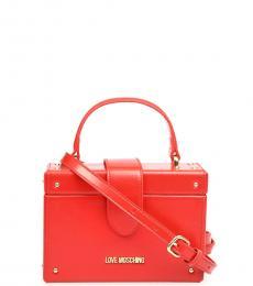 Love Moschino Red Trunk Mini Satchel