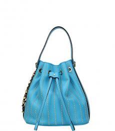 Blue Studded Mini Bucket Bag