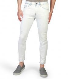 Diesel White Stickker Skinny Light Jeans