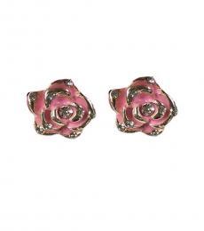 Betsey Johnson Pink Unique Rose Enamel Earrings