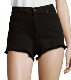 7 For All Mankind Black High Rise Cut Off Shorts