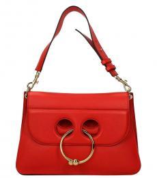 Red Pierce Large Shoulder Bag