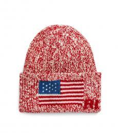 Ralph Lauren Fall Red Flag-Brim Knit Beanie