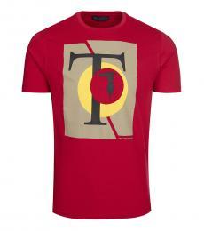 Trussardi Red Graphic Logo T-Shirt