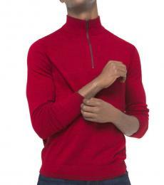 Michael Kors Pop Red Quarter-Zip Sweater