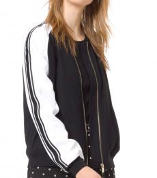Michael Kors BlackWhite Striped-Sleeve Bomber Jacket