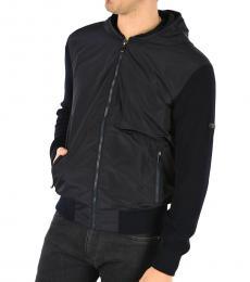 Black Hooded Wool Jacket