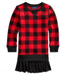Ralph Lauren Little Girls Red/Black Terry Sweatshirt Dress