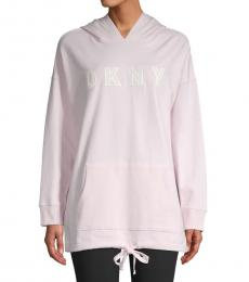 DKNY Light Pink Embroidered Logo Hoodie