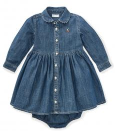 Ralph Lauren Baby Girls Indigo Shirred Denim Shirtdress