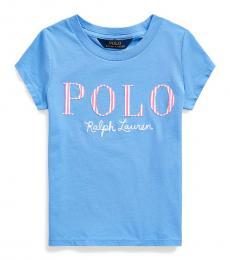 Ralph Lauren Little Girls Harbor Island Blue Logo T-Shirt