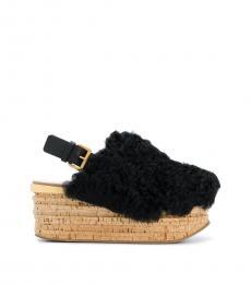 Black Slingback Fur Wedges