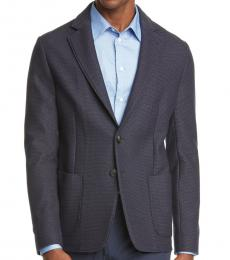 Dark Blue Trim Fit Wool Coat