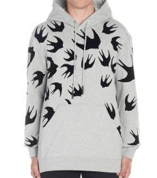 Grey Swallow patch hoodie