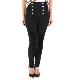 Black High-Rise Distressed Jeans