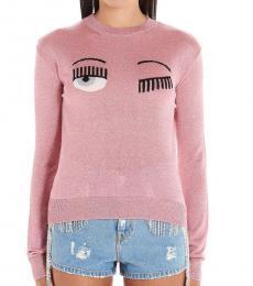 Chiara Ferragni Pink Eye Graphic Lurex Sweater