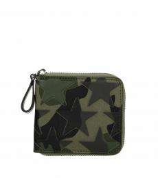 Valentino Garavani Green Front Detail Camo Card Holder